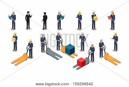 Set of employees of postal or warehouse company. Isometric projection. 3d vectors of manager, courier, worker in uniform, helmet with tablet, box and hydraulic transporter. Isolated on white