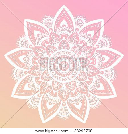 Round Mandala On Dreamy Gradient Background. Translucent Mesh Pattern In The Form Of A Mandala. Mand