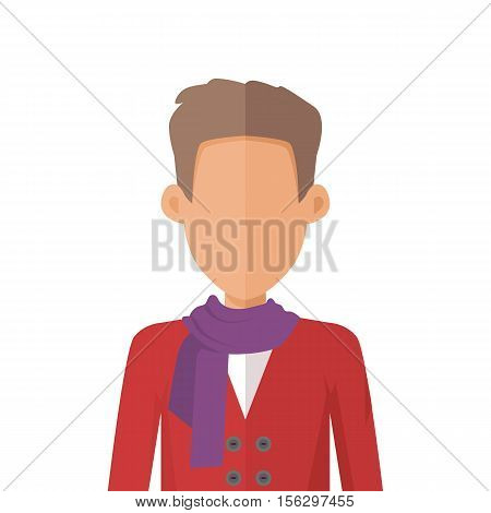 Young man private avatar icon. Young man in maroon sweater and lilac scarf. Social networks business private users avatar pictogram. Isolated vector illustration on white background.