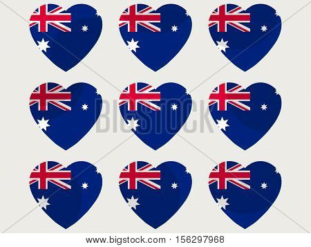 Hearts With The Australian Flag. I Love The Australia. Australian Flag Icon Set. Vector Illustration