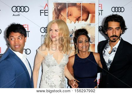 LOS ANGELES - NOV 11:  Saroo Brierley, Nicole Kidman, Priyanka Bose, Dev Patel at the LION AFI Fest Premiere at TCL Chinese 6 Theaters on November 11, 2016 in Los Angeles, CA