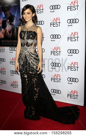 LOS ANGELES - NOV 10:  Lily Collins at the AFI FEST 2016 - Opening Night - Premiere Of 20th Century Fox's 'Rules Don't Apply' at TCL Chinese Theater on November 10, 2016 in Los Angeles, CA