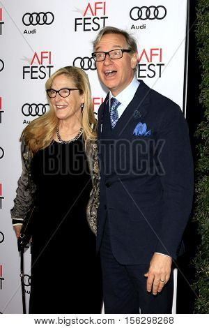 LOS ANGELES - NOV 10:  Laurie Karon, Paul Feig at the AFI FEST 2016 - Opening Night - Premiere Of 20th Century Fox's 'Rules Don't Apply' at TCL Chinese Theater on November 10, 2016 in Los Angeles, CA