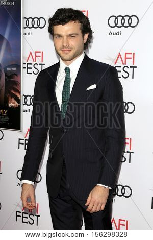 LOS ANGELES - NOV 10:  Alden Ehrenreich at the AFI FEST 2016 - Opening Night - Premiere Of 20th Century Fox's 'Rules Don't Apply' at TCL Chinese Theater on November 10, 2016 in Los Angeles, CA