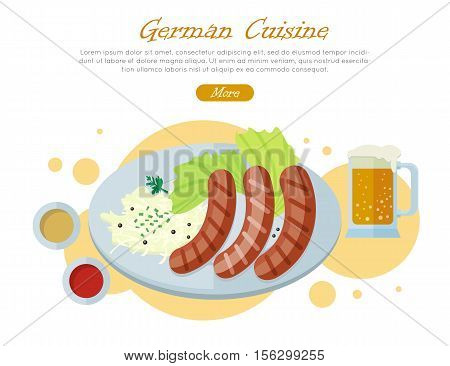 German cuisine web banner. Grilled Bavarian sausages on plate with vegetable garnish, sauce and pint of beer flat vector illustration on white background. Oktoberfest. For restaurant web page design
