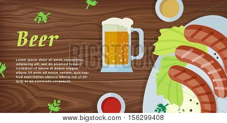 Beer vector web banner. Grilled Bavarian sausages on plate with garnish, sauce and pint of beer flat illustration on wooden background. German national cuisine. Oktoberfest. For restaurant web page