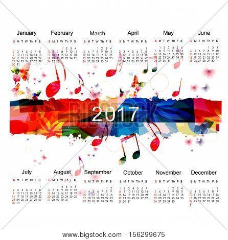 Calendar planner 2017 design template with colorful music notes. Calendar poster, week starts Sunday. Calendar organizer. Calendar isolated, vector illustration background. Monthly calendar layout