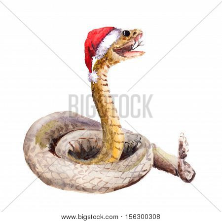 Cute new year snake in red santa's hat. Watercolor christmas animal