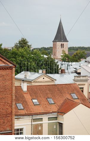 Red roof of the town Tartu, Estonia in the summer