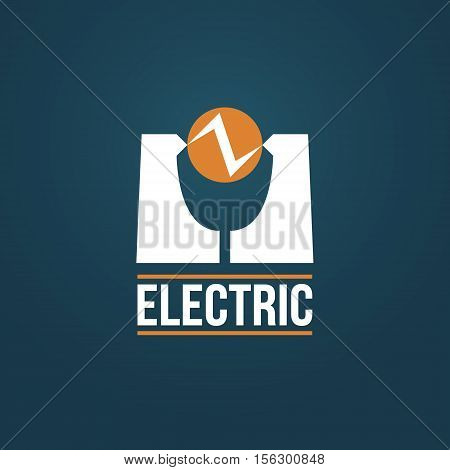 Creative electrical vector logo design. Electric discharge between contacts vector icon sign
