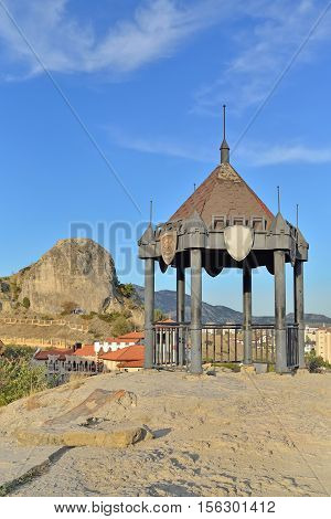 Gazebo on the cliff at the fortress in Sudak. Crimea