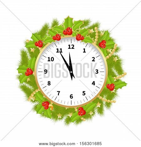 Christmas Clock Decorated With Branches of Christmas tree and hollyberries Showing the Christmas Time Isolated on White Background. Vector Illustration