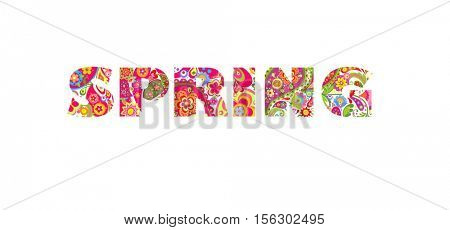 Flowers print with spring lettering
