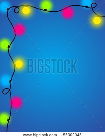 Shiny Christmas Garland With Colorful Lights Background