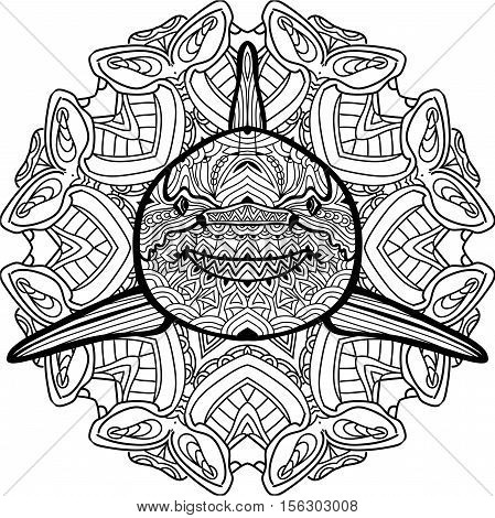 Painted the Predatory shark on the background tribal mandala patterns. Element for your design. Cards, bags, coloring books for adults, t-shirts, tattoo. Line art design. Zendoodle.