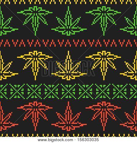Pixel art game style old school sweater rasta weed leaf seamless vector pattern