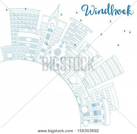 Outline Windhoek Skyline with Blue Buildings and Copy Space. Business Travel and Tourism Concept with Modern Architecture. Image for Presentation Banner Placard and Web Site.