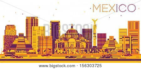 Mexico Skyline with Color Buildings. Vector Illustration. Business Travel and Tourism Concept with Modern Architecture. Image for Presentation and Banner.