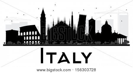 Italy skyline black and white silhouette. Vector illustration. Simple flat concept for tourism presentation, banner, placard or web site. Business travel concept. Cityscape with landmarks