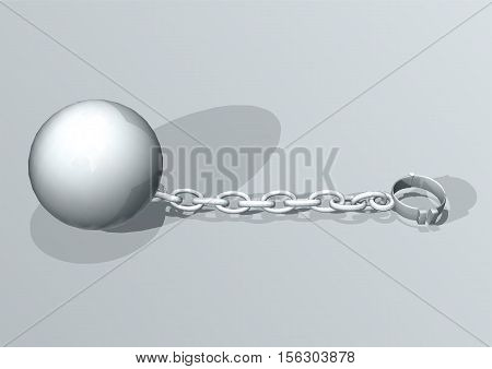 Convict ball and chain. concept of freedom