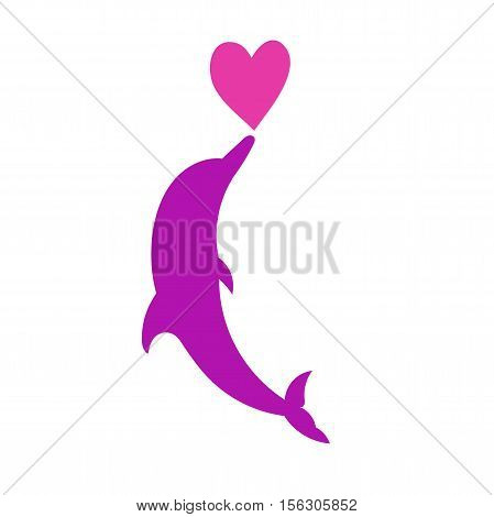 Dolphin heart silhouette vector illustration. Beautiful original illustration for Valentine's day.