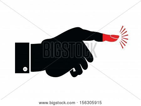 Silhouette of male hand pointing. Intensity of emotions boiling point. Press button. Multipurpose vector illustration