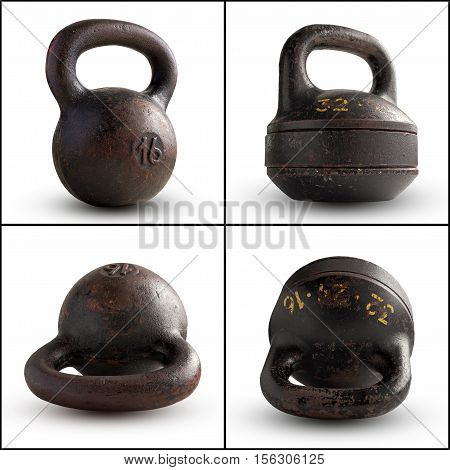 Cast-iron kettlebell 16 kg and collapsible kettlebell 32 kg isolated on white background. Sports equipment.