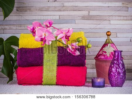 Relax time. Bundle of towels and bath set