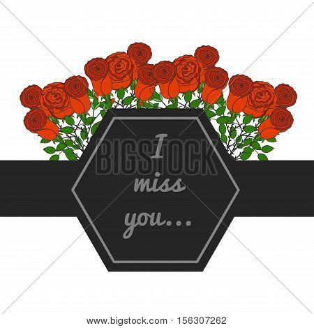 Vector decorative frame. Place for text with roses. Funeral card. Mourning frame.