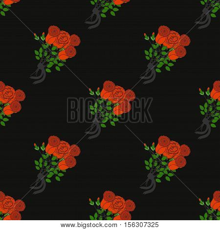 Mourning pattern with rose. Black background with roses.