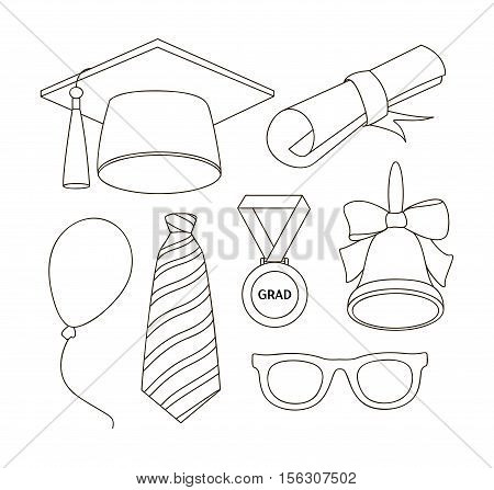 Graduation elements set for graduation party or ceremony invitation, greeting card design.