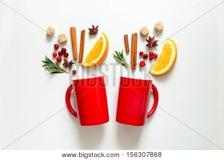 Winter warmer drink concept two cups with warming alcohol cocktail recipe ingredients winter holidays drink flat lay view from above