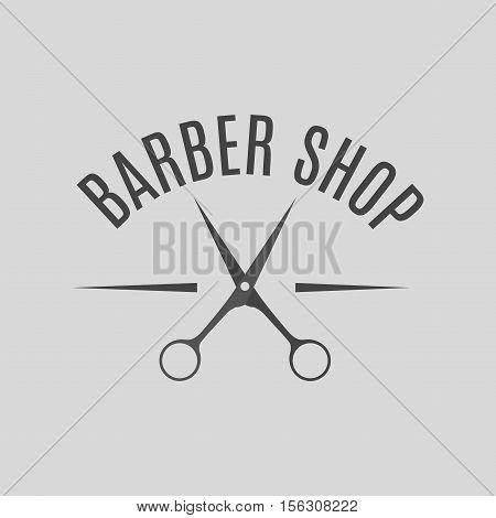 Grey emblem logo label for a barber shop isolated on a white background. Vintage style vector illustration.