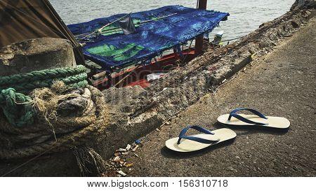 Flip Flop Sandals Fishery Boat Seascape Nautical Vessel Nature Concept
