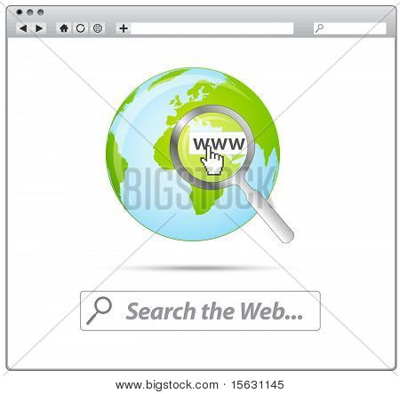 Web browser with search the web and earth icon