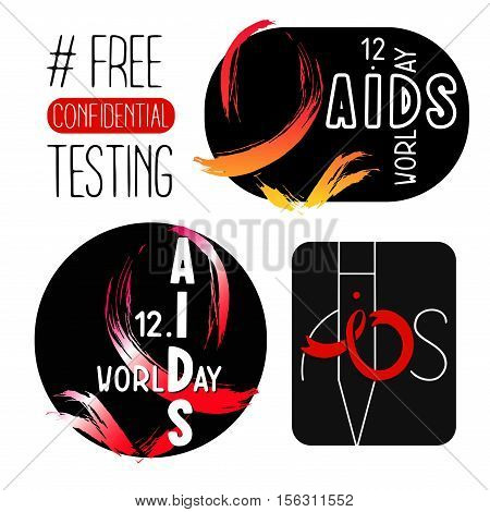 World AIDS day 1 December posters. Awareness red ribbon. Isolated vector banners. HIV test symbol.'Free confidential testing'