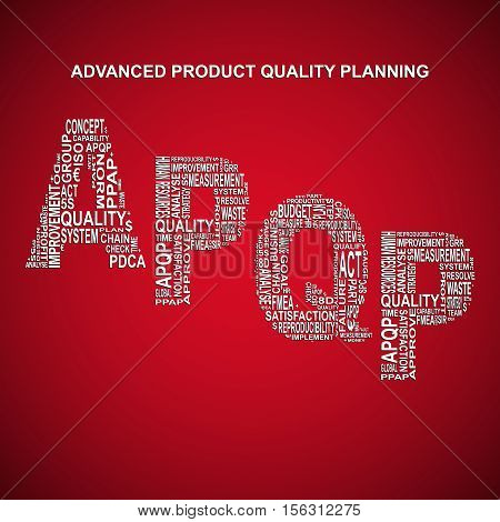 Advanced product quality planning diagonal typography background. Red background with main title APQP filled by other words related with advanced product quality planning method
