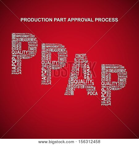 Process failure mode and effect analysis diagonal typography background. Red background with main title PFMEA filled by other words related with process failure mode and effect analysis method