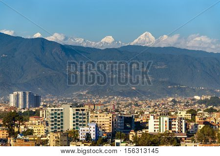 Kathmandu city in Nepal, Himalayas in the background