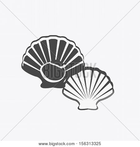 Oysters in monochrome variant. Seafood concept icons in flat style design. Vector illustration fresh deep-sea oyster. Beautiful shell pearl mussels.