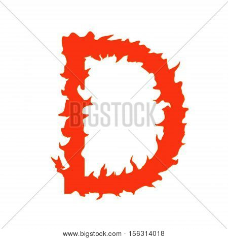 Fire letter D isolated on white background