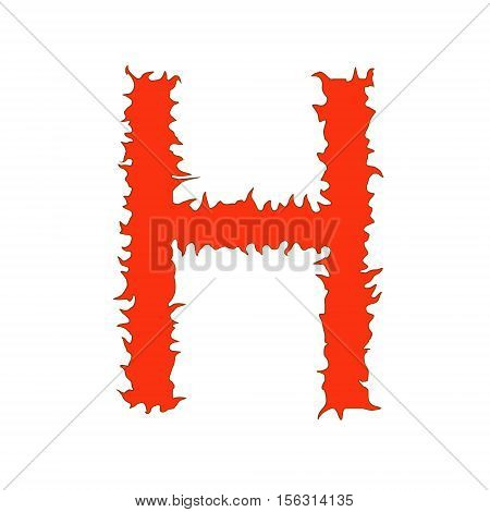 Fire letter H isolated on white background with clipping path
