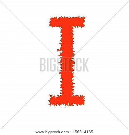Fire letter I isolated on white background with clipping path