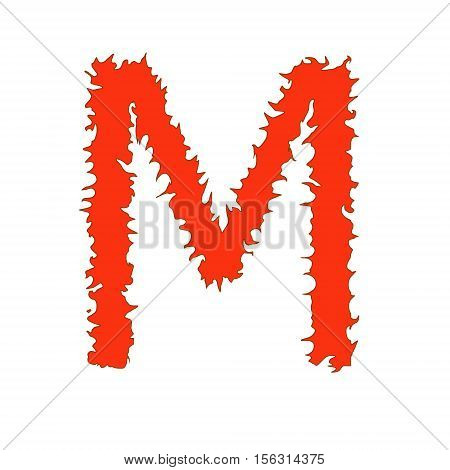 Fire letter M isolated on white background with clipping path