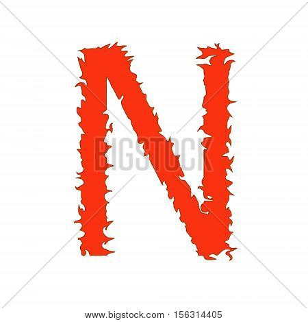 Fire letter N isolated on white background with clipping path