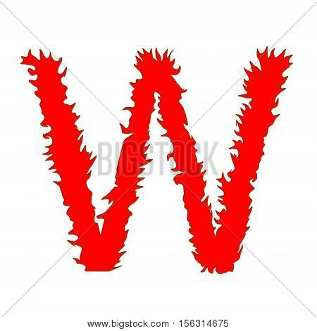 Fire letter W isolated on white background with clipping path