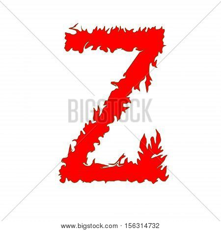 Fire letter Z isolated on white background with clipping path