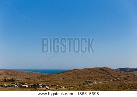 Russia. Crimea. Sudak. 13.09. 2016 Landscape with hills and sea