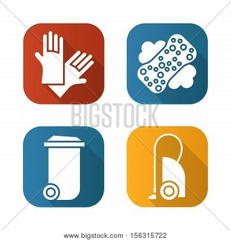 Eqipment for cleaning flat long shadow icons set. Trash can, vacuum cleaner, sponge with foam and rubber gloves. Isolated vector illustration