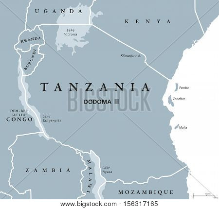 Tanzania political map with capital Dodoma, national borders, islands Zanzibar, Pemba and neighbor countries. Republic in Eastern Africa. English labeling. Gray colored illustration over white.